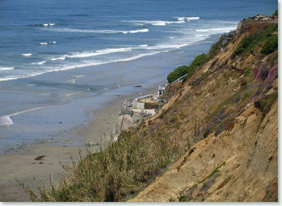 Encinitas photo-Spectacular View from top of Beacons Beach Trail stairs in Leucadia