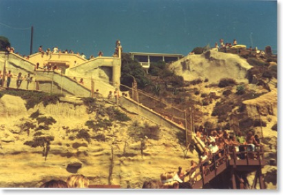 Stone Steps Beach Stairs taken at the Stone Steps Surfing Contest 1975. Encinitas Photographer Kyle Thomas.