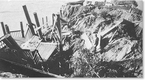 1978 view of D Street Beach Stairs after it collapsed.<br />. Photo G. Kuhn.