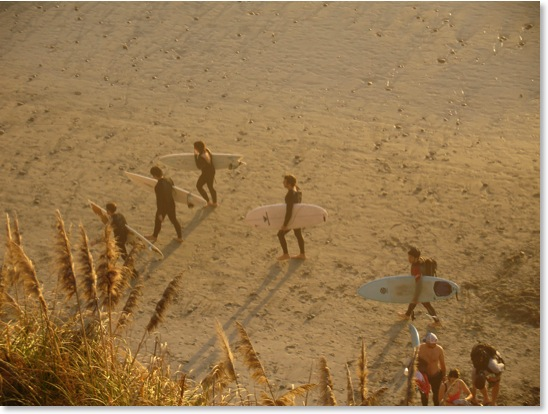 Encinitas Surfers on Beach at Cardiff San Elijo State Park Beach Photo by Kyle Thomas